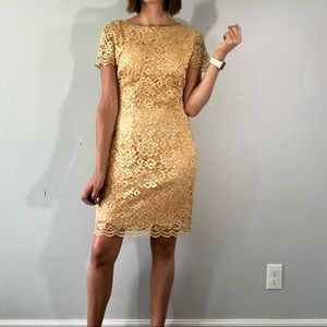 80's gold lace sparkly dress